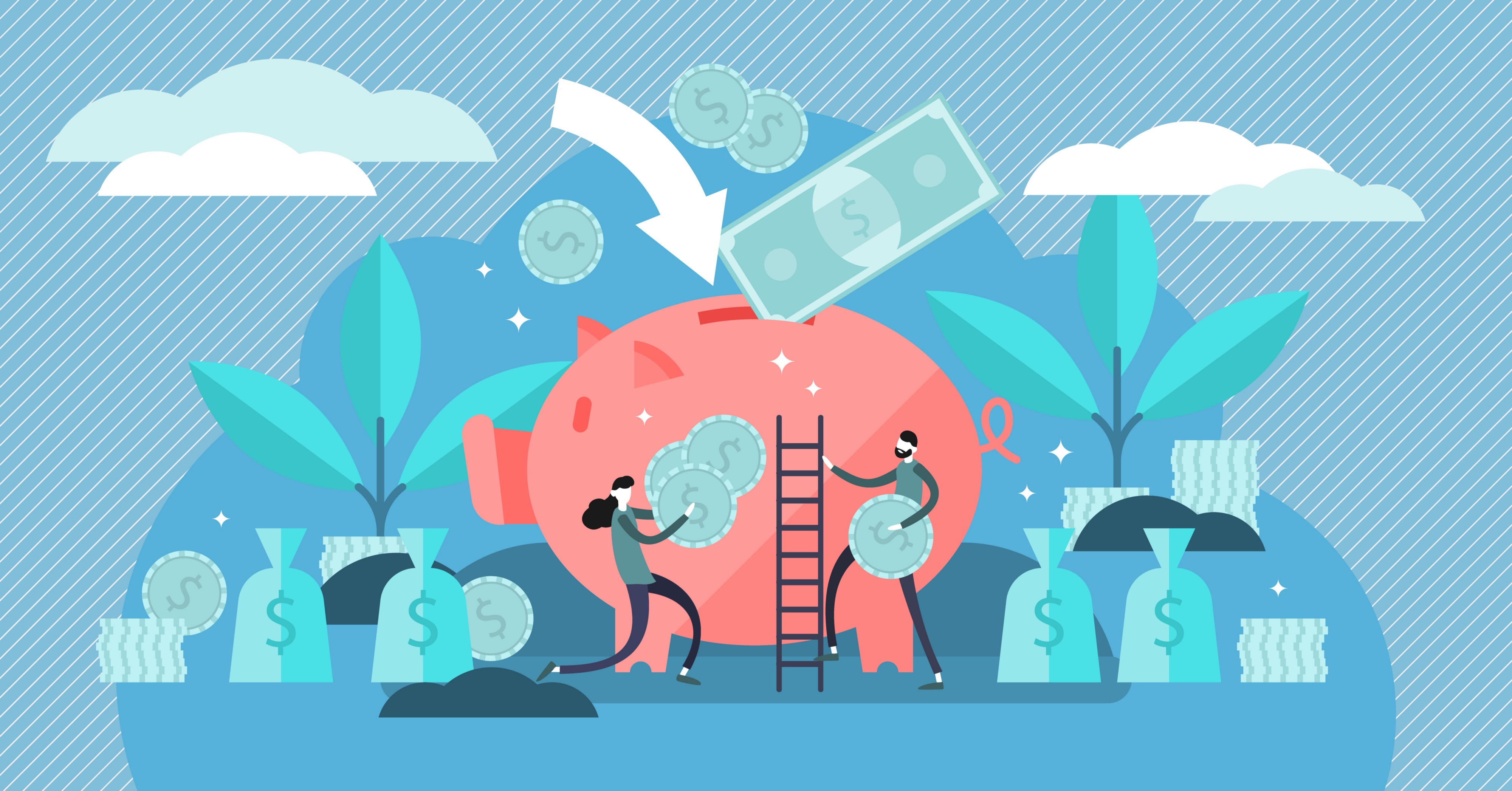 Concept illustration of people saving money and climbing a ladder to drop in money.