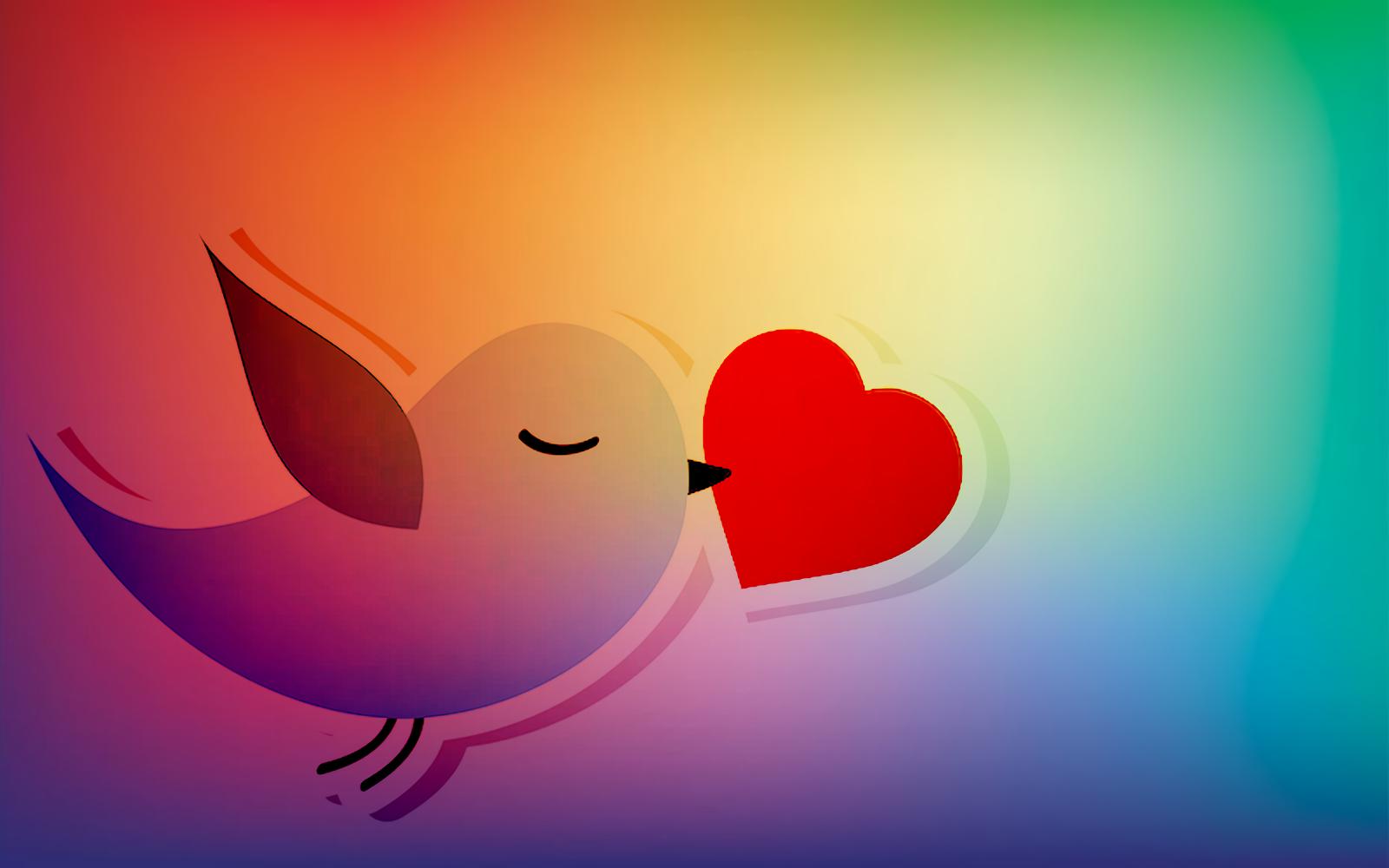 Bird holding heart, rainbow colour background